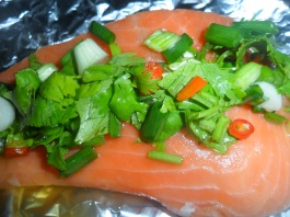 salmon with herbs and chilli steamed