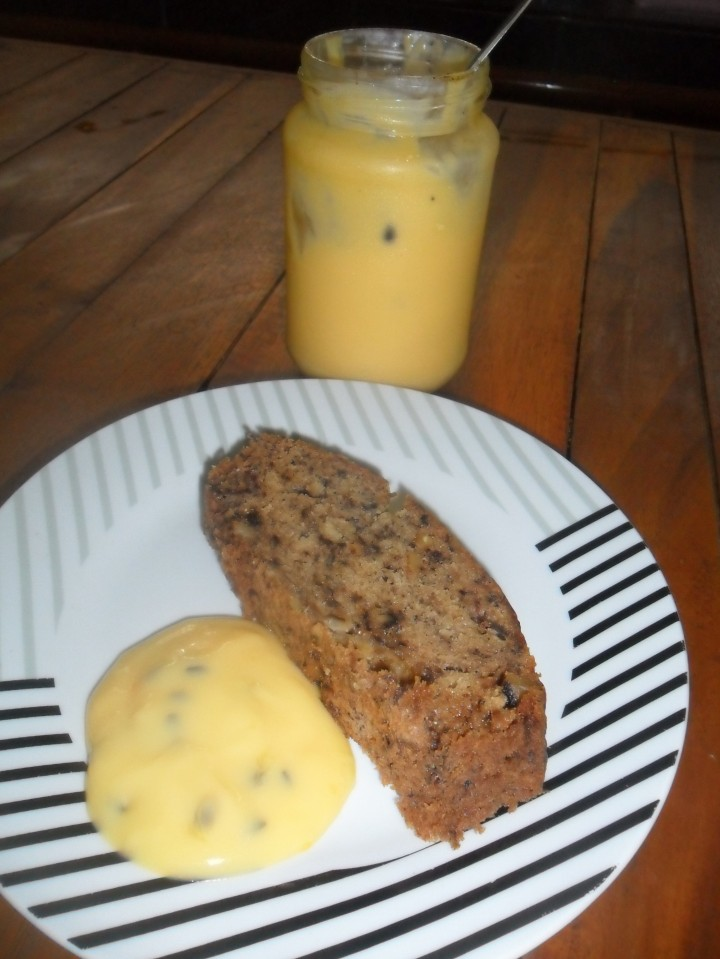 Home made banana bread with passionfruit butter
