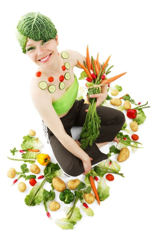 lady holding veggies