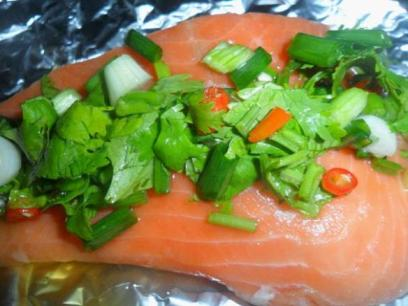 salmon-steamed-Thai- coriander-chilli