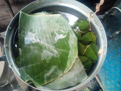 Steamin sticky rice parcels- Banana leaf