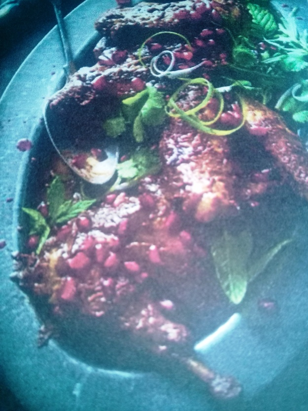 Guinea fowl with pomegranates and walnuts