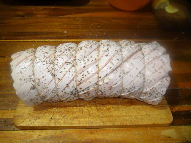 Pork loin scored and ready to cook