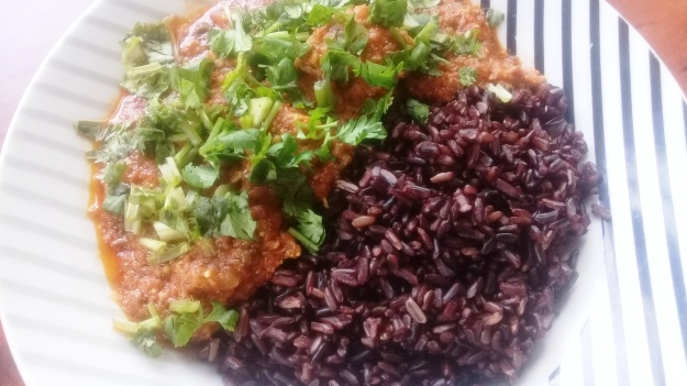 pork masala with black rice