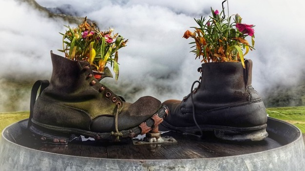 flower filled boots