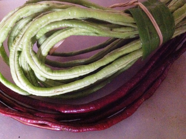 green and red snake beans