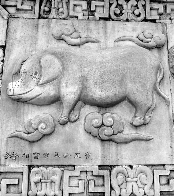 chinese year of the pig carving