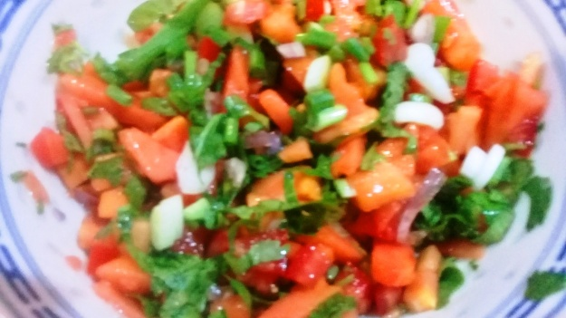 Papaya tomato onion salsa