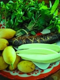mackerel green mango marian fruit and herbs