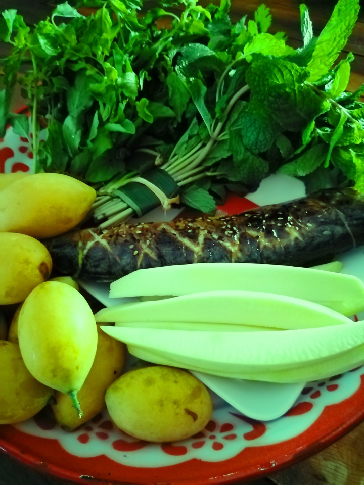 mackerel green mango marian fruit and herbs