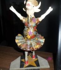 Dancing cow diva figurine