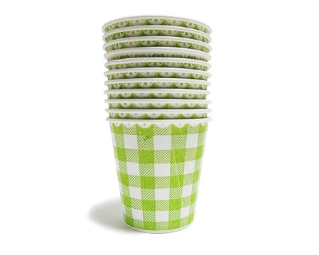 a stack of paper cups