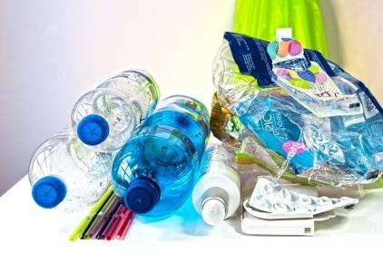 plastic waste bottles straws bags