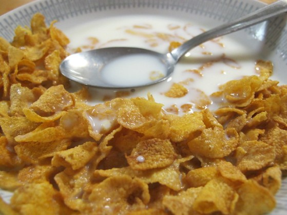 cornflakes and milk with spoon