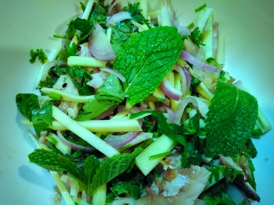 mackerel and green mango Thai salad