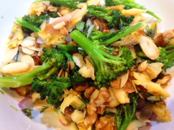 smoked mackerel and broccoli salad