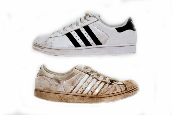 The old and new adidas trainers
