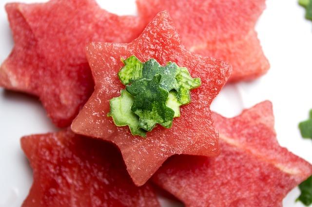 Watermelon cut into stars