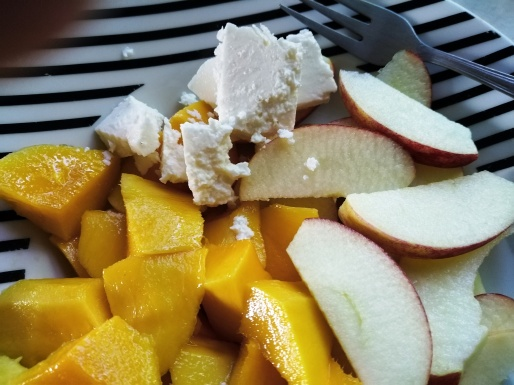 breakfast bowl, mango, apple and feta cheese