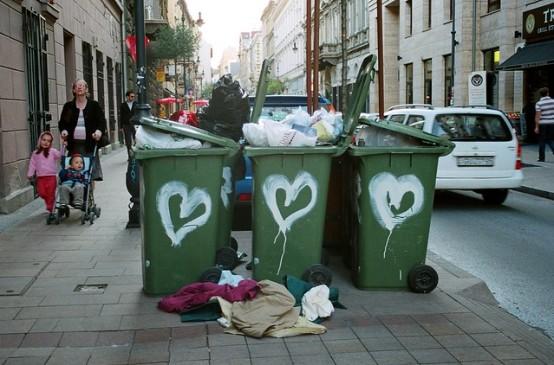 overflowing waste bins