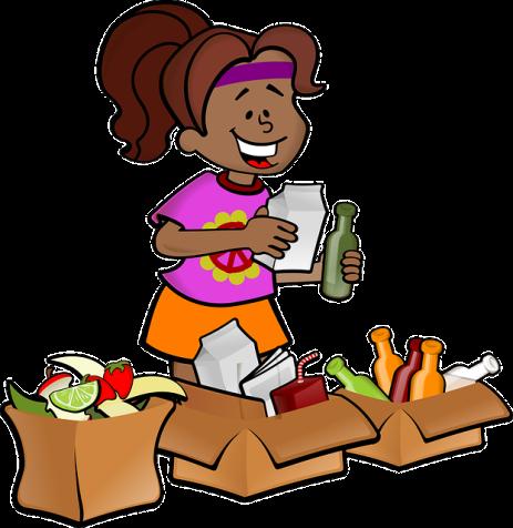 cartoon woman recycling