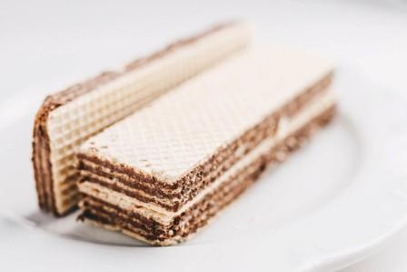 chocolate wafer..two on a plate