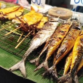 Thai Mackerel and squid on BQQ Phuket