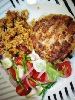 Salmon patty spicy rice and salad