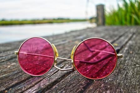 pink lens glasses