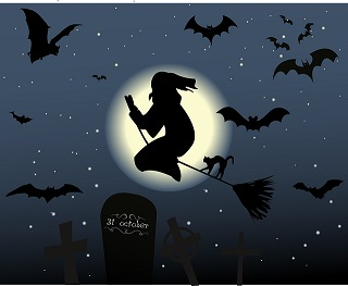 halloween witch and bats-478582_640