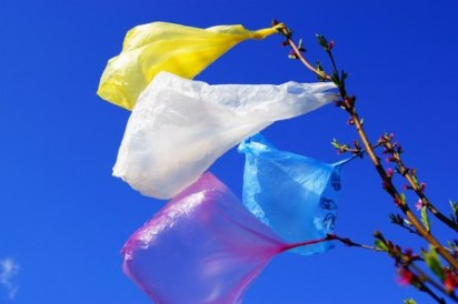 coloured plastic bags blowing in the wind