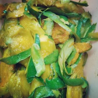 Mango peels and pits
