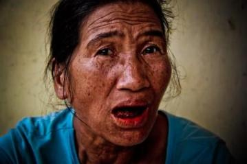 old lady betel nut red mouth