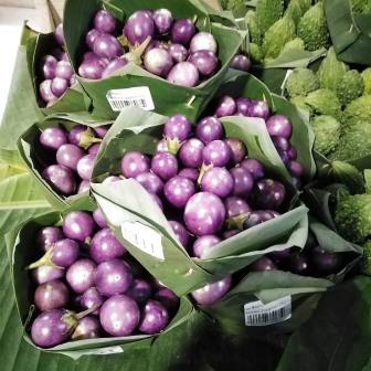 purple ball eggplants and bitter veg